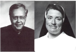 Fr. Robert Erickson, CSV, and Sr. Mary Paul McCaughey, O.P., who oversaw the merger of Sacred Heart Griffin High School