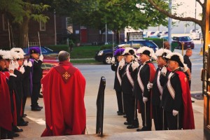 Fr. John Peeters welcomes Knights of Columbus