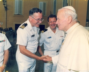 As a Naval chaplain, Fr. Victor Bertand met Pope John Paul