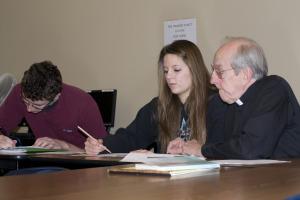 Fr. Perham, Nina Byskosh, Patrick Crane