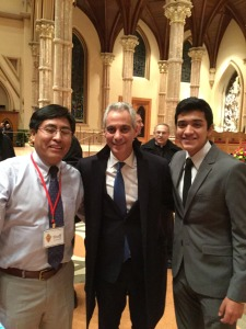 Associate Hector Obregon-Luna and Alex Telles meet Chicago Mayor Rahm Emmanuel, center