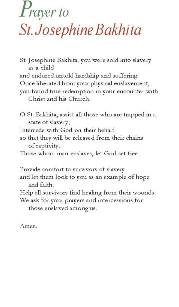 Prayer to St. Josephine Bahkita