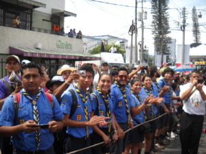 Scouts line the processional route