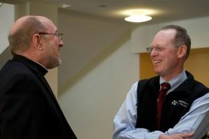 Fr. Mark Francis welcomes Dr. Paul Farmer to CTU class