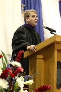 Fr. Corey Brost, CSV, president, addresses the graduates