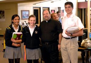 Fr. Daniel Belanger, CSV, with Bishop Mac students