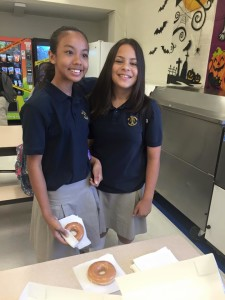 Students at St. Viator School in Las Vegas enjoy Krispy Kreme donuts as part of their celebratin