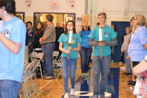 Saint Viator High School teens process into Mass