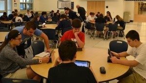 Students use their iPads to take the U.S. Constitution test