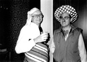 Fr. James Crilly and Fr. Albeyro Vanegas dress up for Halloween in 1982 while serving at Maternity BVM Parish
