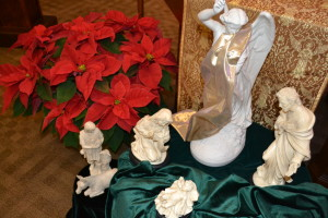 White marble nativity displayed in the Province Center chapel