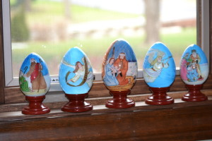 Faberge-inspired eggs, depicting the holy family, created in Poland
