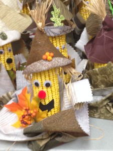 Centerpieces made out of ears of corn, designed by More Youth students