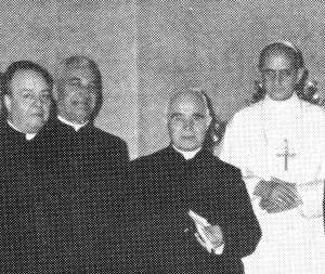 Fr. John Stafford, CSV, U.S. Provincial, far left, and Fr. Michel Sudres, CSV, Superior General, in a private audience with Pope Paul VI during the first EGC in Rome