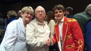 Br. Leo Ryan with Connie Cookus and her grandson, Zac Jones, after a performance of The Music Man