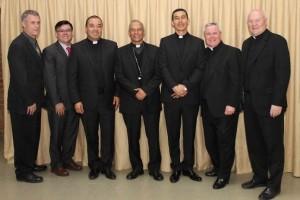 Br. Michael Gosch, Br. Carlos Flórez, Fr. Edgar Suárez, Bishop Hector Pizarro, Fr. Gustavo López, Fr. Thomas von Behren, Fr. Daniel Hall