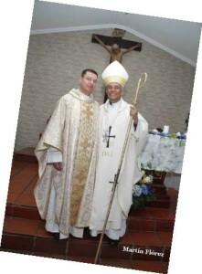 Fr. Edwin Ruiz with Bishop Pizarro