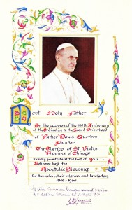 Apostolic Blessing from Pope Paul VI