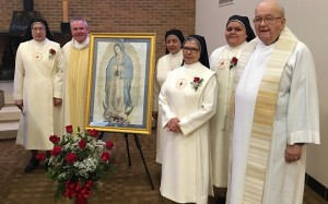Fr. Thomas von Behren, CSV, left and Fr. James Michaletz, CSV, right celebrated with members of the Missionary Sisters of the Sacred Heart of Jesus and Our Lady of Guadalupe on their feast day