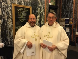 Fr. Dan Belanger, CSV, left, and Fr. John Peeters, CSV, attended the Chrism Mass at the Cathedral of St. Raymond in Joliet