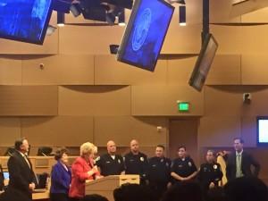 Associate Paul Hartz, fifth from the left, was honored by Las Vegas Mayor Carolyn Goodman
