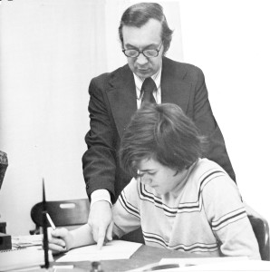 Br. Don Houde, CSV, working with a student in 1973 at Saint Viator High School