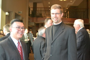 Br. Carlos Flórez, CSV, and Br. John Eustice, CSV, enjoyed the evening