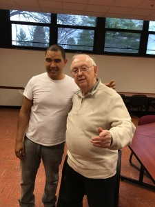 Br. Leo Ryan at a birthday celebration last week with staff member, Noé Quiroga.