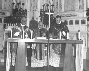 Fr. Edward Cardinal, left, Fr. Daniel O'Connor, center, and Fr. Michael Ranahan celebrate Mass at St. Viator Parish, using Fr. Ranahan's chalice, circa 1959