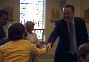 Faculty members, including Assistant Principal Mary Lee DeBelina, gave Mr. Liedlich a warm reception