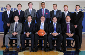 Coach Jay Wright, back row center, with the 2015-2016 student managers