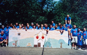 The first Hearts of Hope mission trip group, in 1999. David Baron is far right, with his friend on top of his shoulders