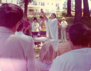 Fr. Gene Lutz celebrates Mass on the grounds of Desiderata Villa