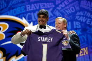Notre Dame and Bishop Gorman grad, Ronnie Stanley, holds up his Ravens' jersey after being drafted 6th overall