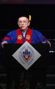 Br. Leo Ryan receiving an honorary degree from DePaul in 2013