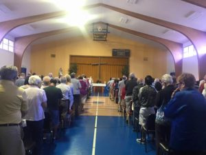 Mass in the gym drew a full house during the first weekend
