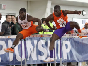 Track - Clemson's Justin Johnson competes in the 60m hurdles at the ACC Indoor Track Championships