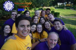 Br. Rob Robertson, bottom right, with teens from the St. Viator Catholic Community delegation at the VYC