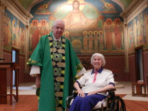 Fr. Charles Bolser, CSV, and Sr. Ann Sharp, OSB in the Benedictine Monastery chapel