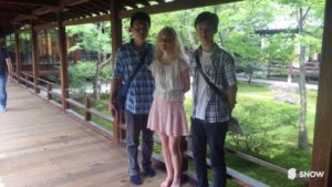 Danielle Leveille with student tour guides from Rakusei St. Viator