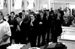Fr. Richard Rinn, second in line, back in 1966 upon entering the Viatorian Novitiate