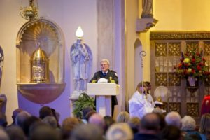 Kankakee Fire Chief Ron Young thanks parishioners for their prayers and support