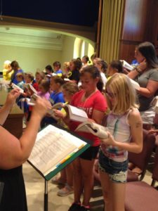The newly formed 5th and 6th grade ensemble rehearses at Maternity BVM