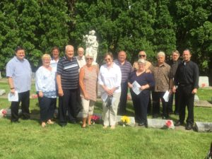Viatorians gathered at Maternity BVM Cemetery in Bourbonnais in observance of Fr. Querbes Day
