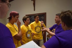 Fr. Jason, right, instructs delegates at the Viatorian Youth Congress