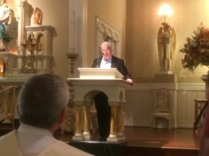 Fr. Richard Pighini led a prayer service for Viatorians in honor of St. Viator Day at Maternity BVM Parish