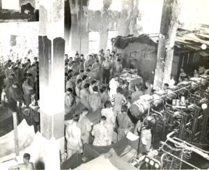 Fr. Charles Riedel offers Mass in the Marine hospital during battle in 1944