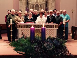 The inclusion of the Advent wreath is a German tradition that became assimilated into traditional Catholic liturgies, Fr. Francis describes. Here, the members of the Bourbonnais/Kankakee region gather in prayer