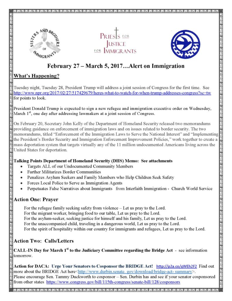 the viatorian community action alert on immigration from sisters