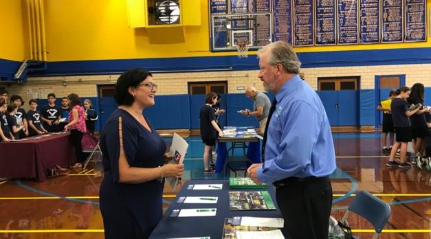 Principal Lisa Rieger with recruiter